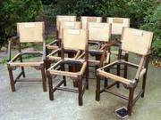 Set Of Eight Antique Oak Dining Chairs inc Two Carvers