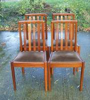 Set Of Four Vintage Retro Teak Dining Chairs