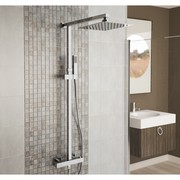 250mm Slimline Square Twin Head Thermostatic Shower Mixer