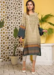 BEIGE PRINTED & EMBROIDERED LAWN KURTA